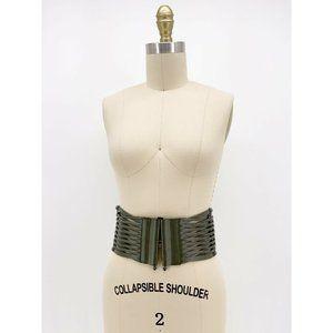 Torrid Corset Belt Woven Leather Wide Silver Loop